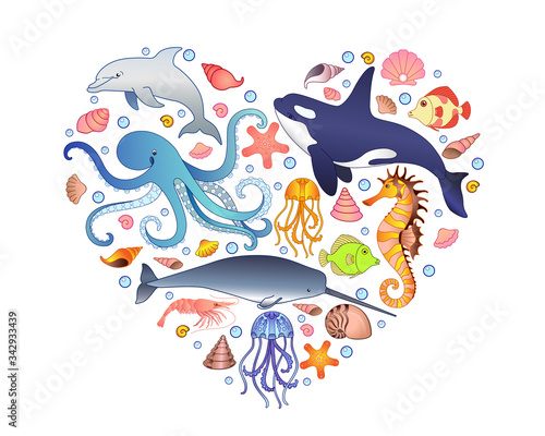 Obraz na płótnie The inhabitants of the underwater world - fish, mammals, mollusks located in the shape of a heart - vector print