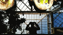 Directly Above View Of Man Photographing Self In Water Reflection At Daniel Stowe Botanical Garden