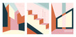 Vector set of abstract architecture covers. Modern backgrounds with copy space for text. Creative geometric pattern template. City building illustration. Trendy design for poster, social media