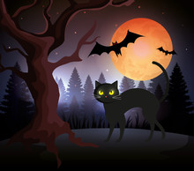 Halloween Cat With Bats Flying...