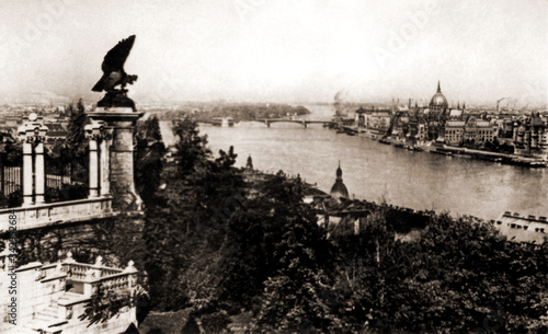 Photo Budapest bridges and monuments taken prior to WWII bombings that destroyed all bridges and part of city