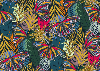 Panel Szklany Na stół i biurko Seamless pattern with trendy tropical summer motifs, colorful butterflies, exotic leaves and plants.