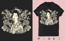 Dragons And Asian Geisha Woman...