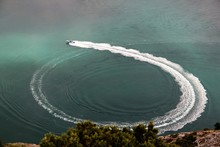 Aerial View Of Jet Boat In Sea