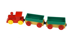 Wooden Toy Train Isolated On White Background