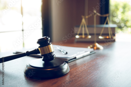 Judge gavel at the judicial office for judicial matters. Canvas Print