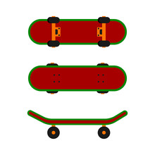Skateboard On Very Popular Sport In Trendy Flat Style Isolated. Skate Board One-piece Board With Four Wheels For Urban Street Riding. EPS 10.