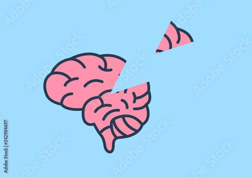 Photo Alzheimer's memory loss and amnesia / brain vector