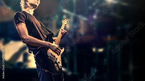 ステージ上のロックギタリストのイメージ素材 Canvas Print