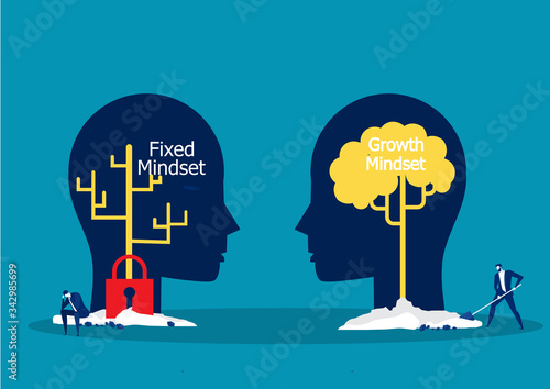 Big head human think growth mindset different fixed mindset concept vector Fototapeta
