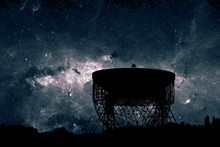 Radio Telescope Dish Silhouett...