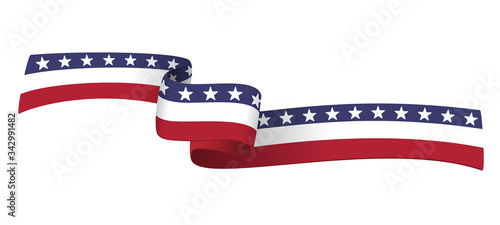 American ribbon flag on white background Canvas-taulu