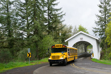 School Bus Moving On Road