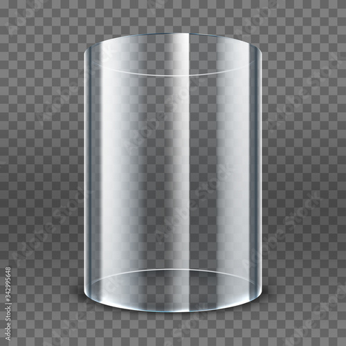 Fotografie, Obraz Empty transparent glass cylinder isolated on transparent background