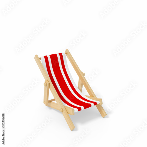 Fotomural Beach chair, Deck chair with red and white stripes isolated on white background 3d rendering
