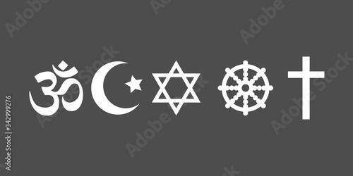 Valokuvatapetti Religious symbols icon set. Vector illustration, flat design.