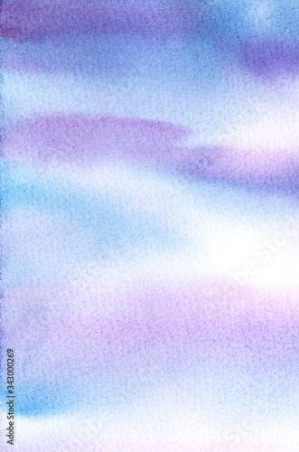 Leinwand Poster Abstract watercolor blurred background of dusk sky in blue and purple hues