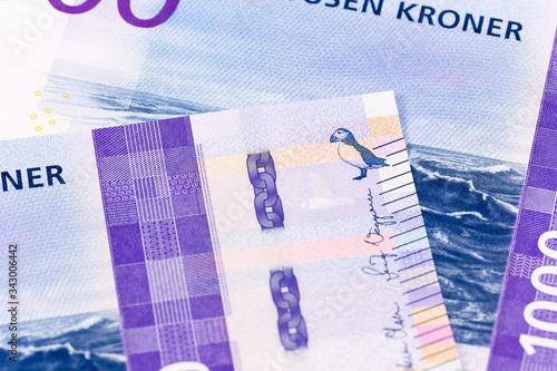 Fototapeta detail of a new 1000 norwegian krone banknote reverse