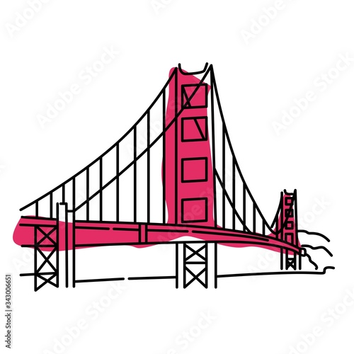 Photo Golden Gate Bridge Color Vector. Isolated on White background