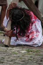 Man Dressed As Jesus Christ With Cross On Good Friday