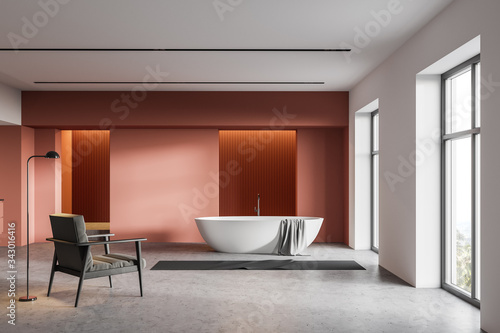 Orange and white bathroom, tub and armchair Canvas Print