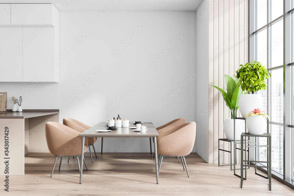 Fototapeta White and wooden dining room interior
