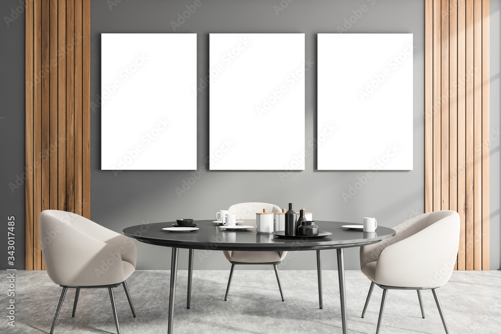 Fototapeta Gray dining room interior with poster gallery