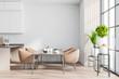 Leinwandbild Motiv White and wooden dining room interior