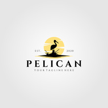 Pelican Bird Logo Vintage With...