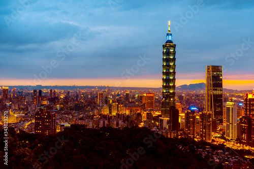 Photo May 4, 2019 :Skyline of Taipei cityscape Taipei 101 building of Taipei financial
