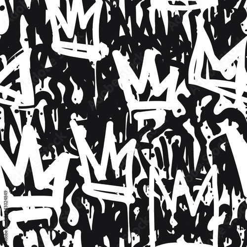 Tapety do pokoju młodzieżowego  vector-tags-seamless-pattern-fashion-black-and-white-graffiti-hand-drawing-design-texture