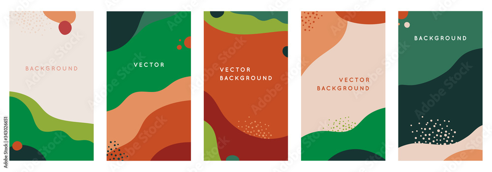 Fototapeta Vector set of abstract creative backgrounds in minimal trendy style with copy space for text - design templates for social media stories - simple, stylish and minimal wallpaper designs for invitations