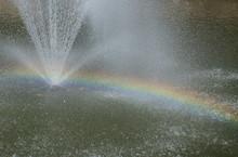 High Angle View Of Fountain Spraying