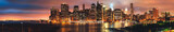 Fototapeta Nowy Jork - Panorama to Brooklyn bridge and downtown New York City, skyline, USA
