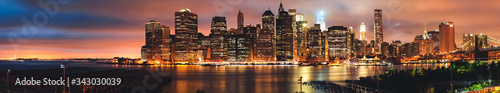 Panorama to Brooklyn bridge and downtown New York City, skyline, USA