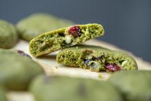 Macro Shot Of Green Tea Cookie