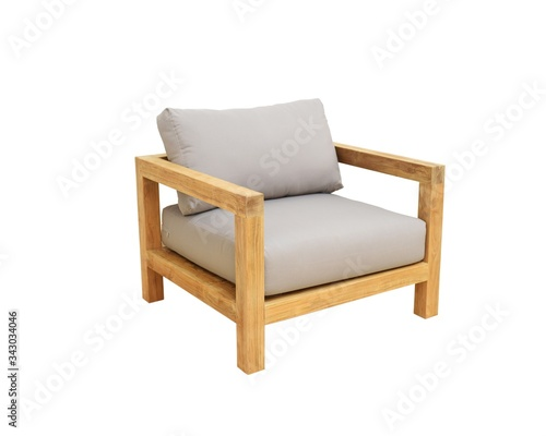 Photo Arm chair natural wood with cushion on the seat and backrest