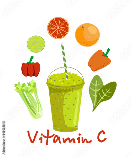 Photo Fruits and vegetables containing vitamin C