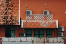 View Of Air Conditioners On Building