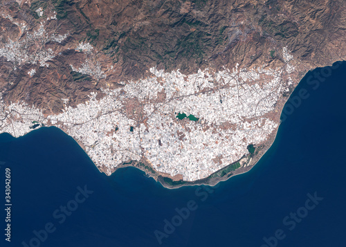 Satellite image of intensive farming with plastic greenhouses near Almeria, Spain Wallpaper Mural