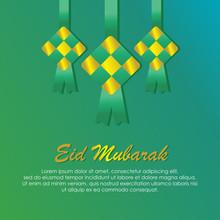 Ketupat Illustration For Eid Mubarak, Eid Mubarak With Ketupat (rice Dumpling) Is Indonesian Food For Celebrate Eid Ul Fitr Or Eid Ul Adha