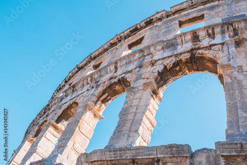 Wall fragment of Ancient Roman Amphitheater in Pula, Istrian Peninsula in Croati Canvas