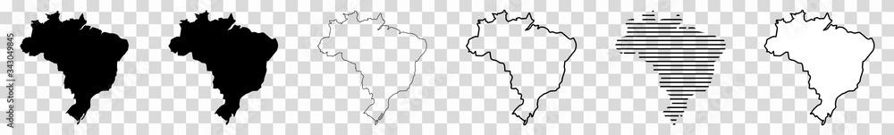Fototapeta Brazil Map Black | Brazilian Border | State Country | Transparent Isolated | Variations
