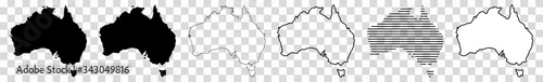 Fototapeta Australia Map Black | Australian Border | Continent | Transparent Isolated | Var