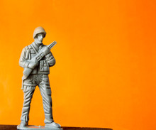Plastic Soldier Stands On A Br...