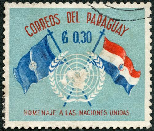 PARAGUAY - 1960: shows Flags of UN and Paraguay and UN emblem, Declaration of Hu Wallpaper Mural