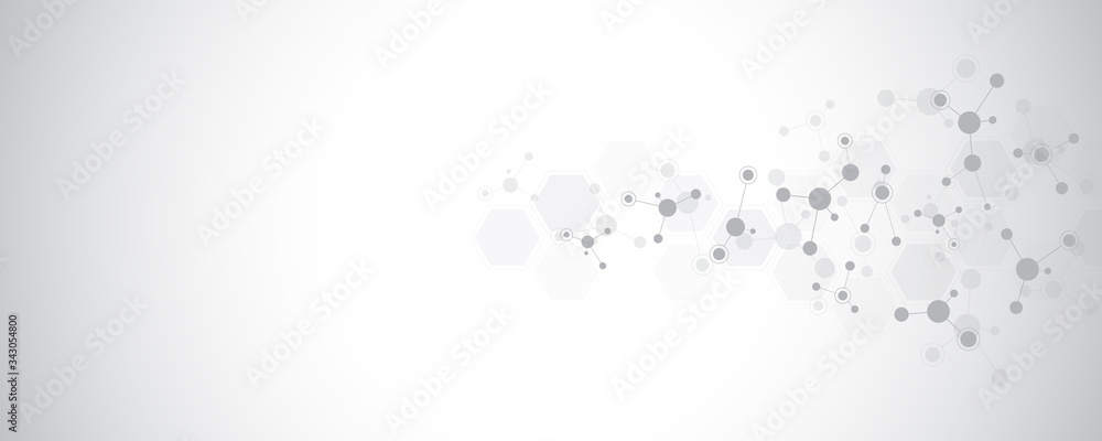 Fototapeta Abstract background of molecular structures. Molecules or DNA strand, genetic engineering, neural network, innovation technology, scientific research. Technological, science and medicine concept.
