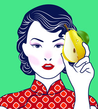 Chinese Lady Holding Pair Of Pears In Retro Style. Vector, Illustration