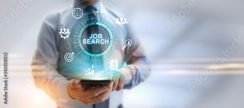 Obraz Job search hiring recruitment send CV resume business concept. - fototapety do salonu