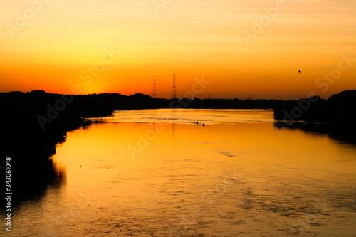 Fototapeta Piękny zachód słońca nad Wisłą obraz